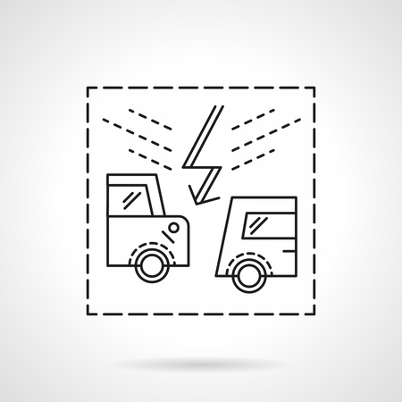 drunk driving: Road accidents. Abstract automobiles and lightning sign. Car insurance concept. Flat line style vector icon. Single design element for website, business. Illustration