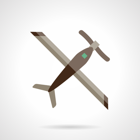 remote view: Remote controlled plane. Unmanned aerial vehicles. Airplane with propeller a top view.  Flat color style vector icon. Web design element for site, mobile and business.