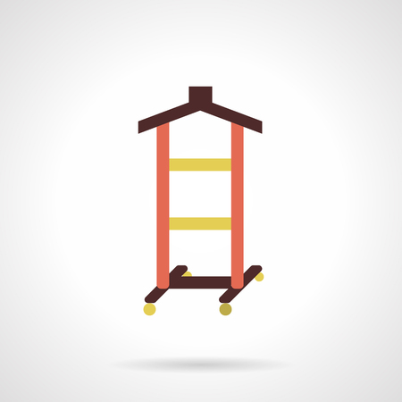laundry hanger: Rack with yellow rods and brown hanger element for hanging shirts and dresses. Wardrobe equipment. Atelier objects. Flat color style vector icon. Web design element for site, mobile and business. Illustration