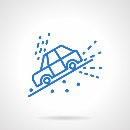 slope: Road disasters and automobile insurance cases. Car slope down on hill or roadside. Informative and warning signs. Simple blue line vector icon. Single element for web design, mobile app.