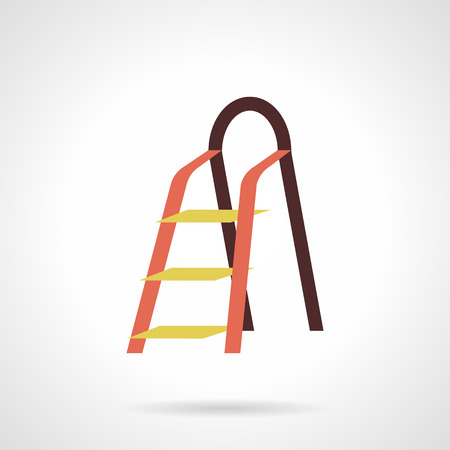 tools icon: Colored metal ladder for household, repair works, construction and gardening. Services equipment. Hardware store. Flat color style vector icon. Web design element for site, mobile and business. Illustration
