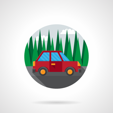 auto insurance: Red car goes on road by pine forest. Automobile test drive. Travelling by car. Auto insurance. Round flat color style vector icon. Web design element for site, mobile and business. Illustration