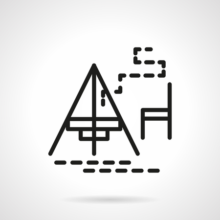 single seat: Campsite with fireplace and seat. Camping dinner. Hiking, tourism and other summer activity leisure. Simple black line vector icon. Single element for web design, mobile app.