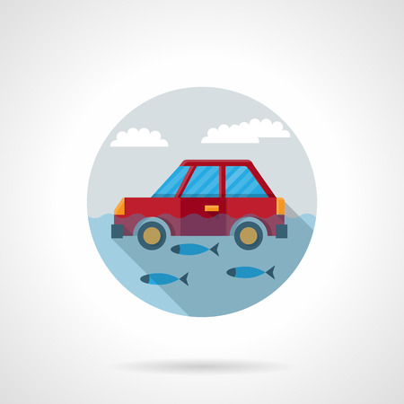 inundation: Flood disaster for transportat. Red car floating in water with fishes. Automobile insurance concept. Round flat color style vector icon. Web design element for site, mobile and business.