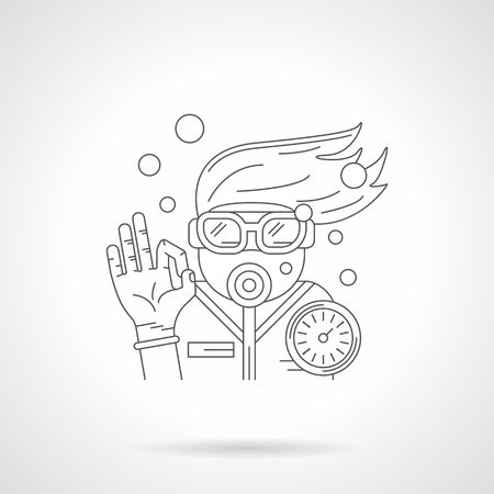 underwater sport: Diver with mask and aqualung console shows sign OK underwater. Water sport and recreation. Diving and snorkeling. Detailed flat line vector icon. Web design elements for business, site, mobile app. Illustration