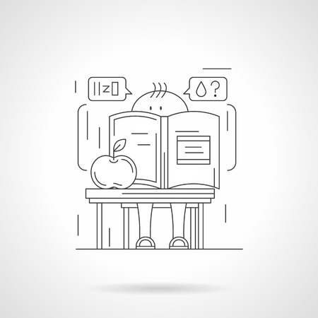 water molecule: Cute pupil thinking about water molecule with big chemistry book and apple. School boy at a desk in chemistry room. Detailed flat line vector icon. Web design elements for business, site, mobile app.