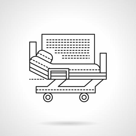 bedridden: Health care sign. Hospital services. Medical stretcher bed on wheels. Flat line style vector icon. Single design element for website, business. Illustration