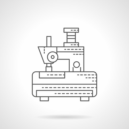 dressmaking: Sewing machines theme. Equipment for industrial embroidery. Dressmaking and tailoring. Flat line style vector icon. Single design element for website, business.