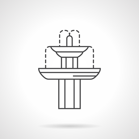garden fountain: Exterior decoration elements. Landscaping objects. Classic fountain for gardens and parks. Flat line style vector icon. Single design element for website, business.