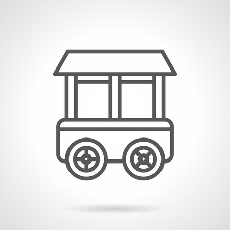 grocery trade: Shop on wheels. Grocery stall. Trolley for food and beverages trade. Simple black line vector icon. Single element for web design, mobile app.