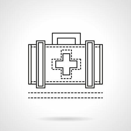 medical case: Case with medicine symbol with handle. Medical staff accessories. First aid kit. Flat line style vector icon. Single design element for website, business.