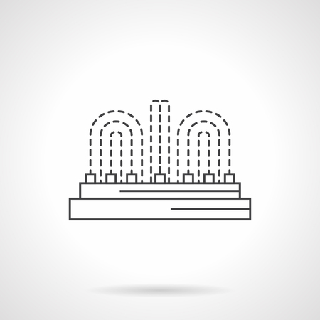 strew: City landscaping architecture and object. Row fountain with illumination elements. Flat line style vector icon. Single design element for website, business. Illustration