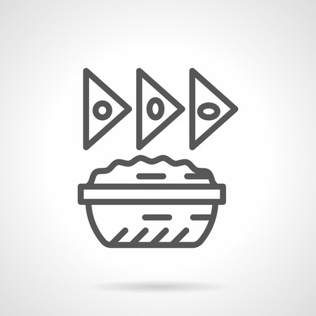 chips and salsa: Dish with sauce and three tacos. Mexican food menu. Restaurants, cafe and fast food. Simple black line vector icon. Single element for web design, mobile app.