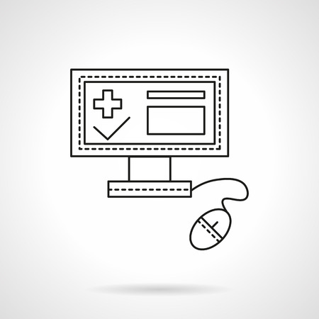 business administration: PC with computer mouse and medical registration app on screen. Hospital administration. Health care theme.  Flat line style vector icon. Single design element for website, business.