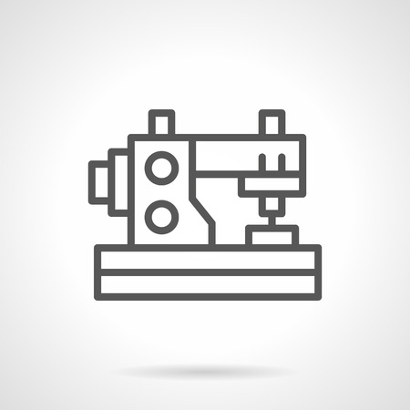 dressmaking: Sewing machine for home hobbies. DIY symbol. Tailoring at home. Personal dressmaking. Simple black line vector icon. Single element for web design, mobile app.