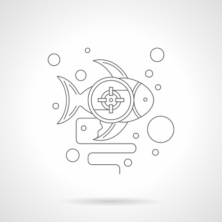 ichthyology: Fish with a photo targeting crosshair and bubbles. Underwater hunt. Diving and snorkeling. Symbol for ichthyology research. Detailed flat line icon. Web design for business, site, mobile app.