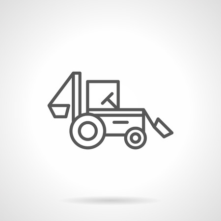 agriculture industry: Agriculture industry. Farming machines and vehicles. A side view of backhoe tractor. Simple black line icon. Single element for web design, mobile app. Illustration