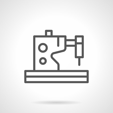 dressmaking: Electric or electromechanical sewing machine. Tailoring and dressmaking. Equipment for fashion industry. Simple black line icon. Single element for web design, mobile app. Illustration