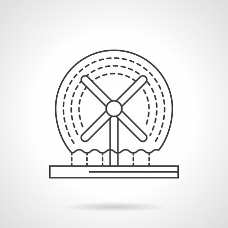 Decorative architecture elements. Fountains and small structures. Dynamic rotating fountain. Flat line style icon. Single design element for website, business.