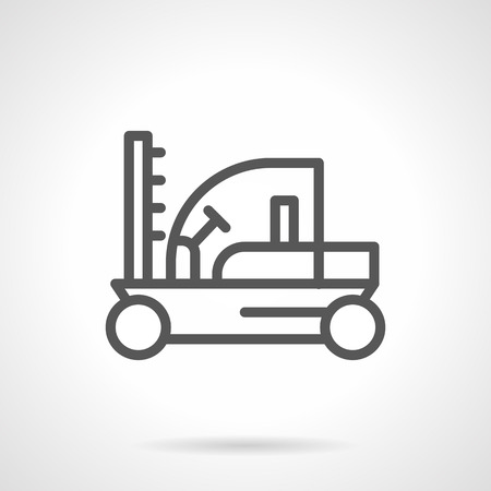 fork lift: Farming machinery. Tractors and vehicles. Fork lift loader sign. Simple black line icon. Single element for web design, mobile app. Illustration