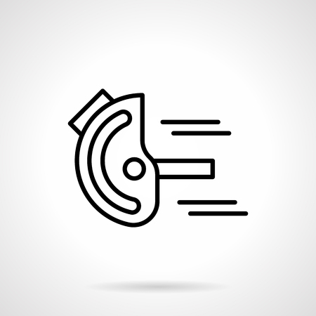 metrology: Measurement tools and instruments. Goniometer or device for angles measuring. Metrology, engineering, construction. Simple black line icon. Single element for web design, mobile app.