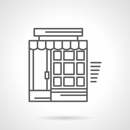 storefronts: Building facade with door, tileable window and awning. Storefronts and showcases. Drugstore, shop, market, grocery. Flat line style icon. Single design element for website, business.