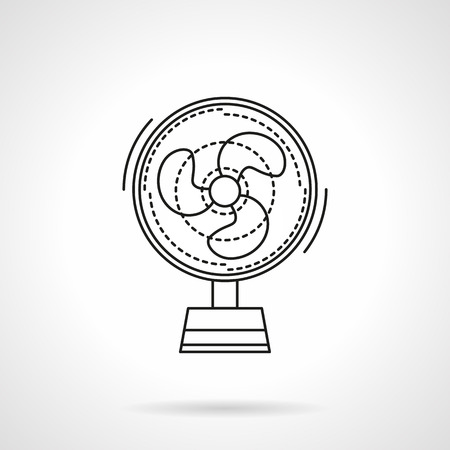 climatic: Small portative fan a front view. Climatic appliances. Summer comfort. Air cooler. Flat line style vetor icon. Single design element for website, business.