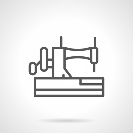 mending: Side view of manual sewing machine with needle. Sewing craft equipment. Hobby and fashion. Household dressmaking and mending. Simple black line icon. Single element for web design, mobile app. Illustration