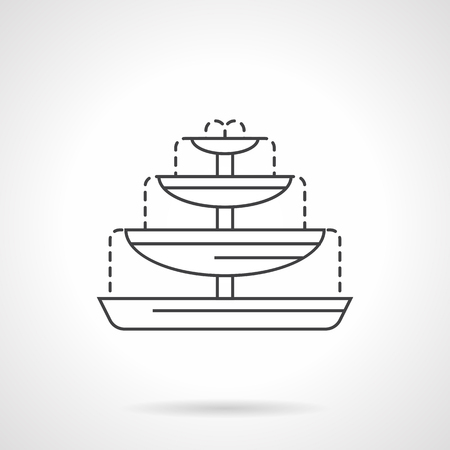 garden fountain: Fountain with four bowls and water flowing. Decor for garden, parks, city scape. Flat line style icon. Single design element for website, business.
