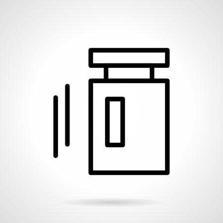 balanza de laboratorio: objetos de metrolog�a. Pesa de calibraci�n. medici�n de pesos. Icono simple l�nea de negro. solo elemento para el dise�o web, la aplicaci�n m�vil.