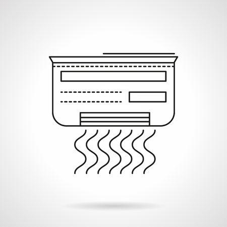 climatic: Air conditioner with symbol of waves. Equipment for create a comfortable indoor temperature. Climatic technics. Flat line style vector icon. Single design element for website, business.