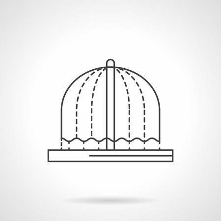 arched: Arched flowing fountain. Decorations for urban landscape. Refreshing in summer in park, garden. Flat line style vector icon. Single design element for website, business. Illustration