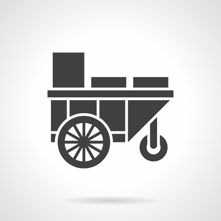 cold drinks: Street trading cart or trolley. Summer street sale of cold drinks. Mobile bar for festivals, coast, park. Symbolic black glyph style vector icon. Element for web design and mobile.