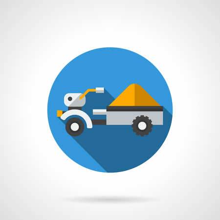 agriculture machinery: Tractor trailer with yellow load. Farm truck for transportation of grain crops. Equipment and machinery for agriculture. Round flat color vector icon. Web design element for site, mobile and business.