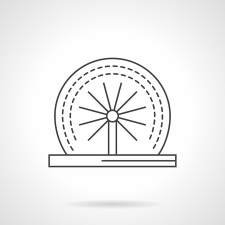 garden fountain: Round rotating dynamic fountain. Decoration for garden, parks and other public places. Small dynamic construction. Flat line style vector icon. Single design element for website, business.
