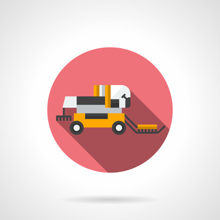 agricultural machinery: Yellow combine harvester with long shadow. Agricultural machinery, harvesting. Field summer job. Round flat color style vector icon. Web design element for site, mobile and business. Illustration