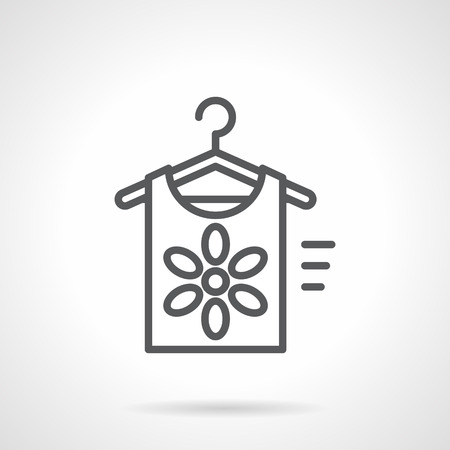 womens fashion: Shirt with flower on hanger. Summer clothes shops, womens fashion. Clearance sale at discounted prices. Simple black line vector icon. Single element for web design, mobile app.