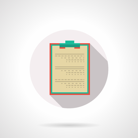 entries: Board for records with clip and paper. Medical documentation or patient data. Doctor entries, diagnosis and treatment. Round flat color vector icon. Web design element for site, mobile and business.