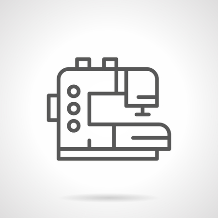 atelier: Electric sewing machine. Tailor working tool, equipment for clothing atelier, homemade craft. Simple black line vector icon. Single element for web design, mobile app.