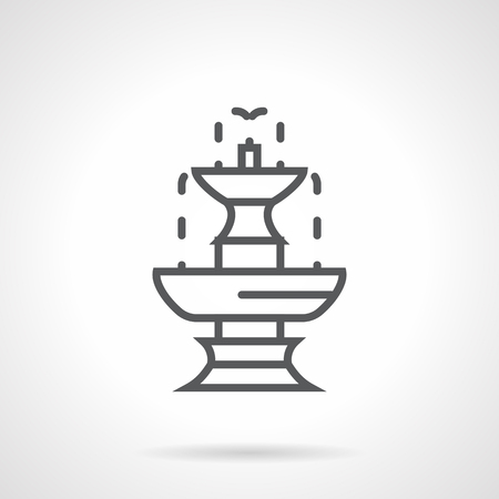 garden fountain: Tiered fountain with flowing down drops. Classic stone decoration for urban parks, garden landscape. Simple black line vector icon. Single element for web design, mobile app.