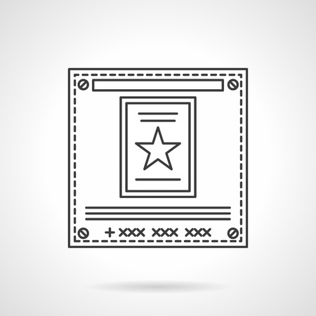 advertising agency: Square poster with star. Advertising messages, ads, sales presentation. Television announcements. Sign for advertising agency. Flat line style vector icon. Single design element for website, business. Illustration