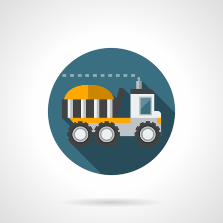 web side: Loaded large truck a side view. Farming vehicles - harvesting, delivery of food agricultural products. Round flat color style vector icon. Web design element for site, mobile and business.