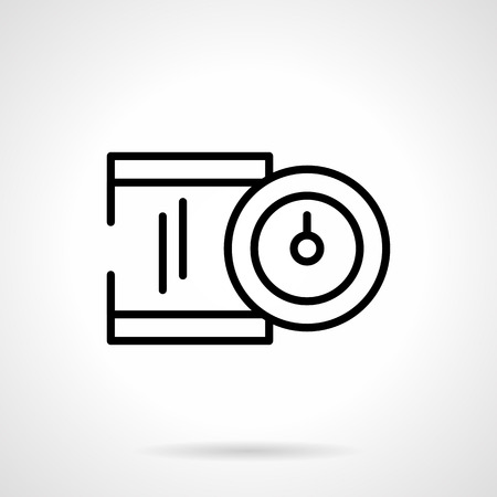 precise: Measuring device with dial indicator. Precise measurement and control of production in industry. Metrology objects. Simple black line vector icon. Single element for web design, mobile app.