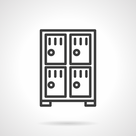 valuables: Cabinet with four compartments. Lockers at stations and airports, markets, safe storage of money and valuables in a bank. Simple black line vector icon. Single element for web design, mobile app. Illustration