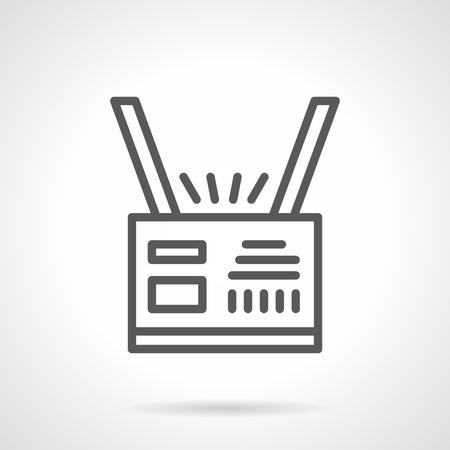 identidad personal: Tarjeta de identidad en la cinta. La informaci�n personal y de registro de hu�spedes en las actividades p�blicas y comerciales. Simple l�nea de negro del icono del vector. solo elemento para el dise�o web, la aplicaci�n m�vil.