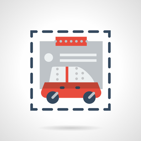 acquirement: Documents form for purchasing automobile. Motor show services. Car insurance agency. Flat color style vector icon. Web design element for site, mobile and business.