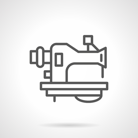 garment industry: Machine with tucked thread for sewing. Garment industry equipment and accessories. Repair of old sewing machines. Simple black line vector icon. Single element for web design, mobile app. Illustration