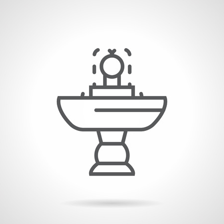 adorned: Cupped small fountain on a stand. Adorned exterior, decoration gardens, landscape and interior design elements. Simple black line vector icon.