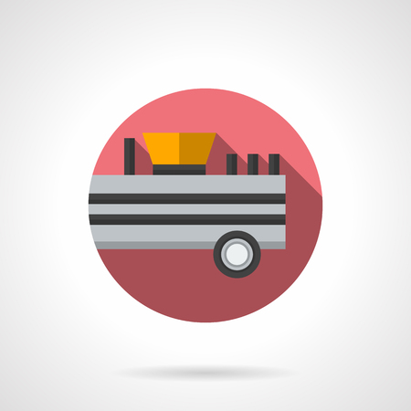 fertilizer: Trailer fertilizer with long shadow. Equipment for soil fertilizer. Improved crops and production in farming. Round flat color style vector icon. Web design element for site, mobile and business.