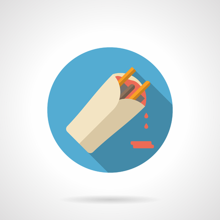 establishments: Burrito with red sauce Long shadow. Fast food, vegetable and meat menu for food establishments. Mexican cuisine. Round flat color style vector icon. Web design element for site, mobile and business. Illustration